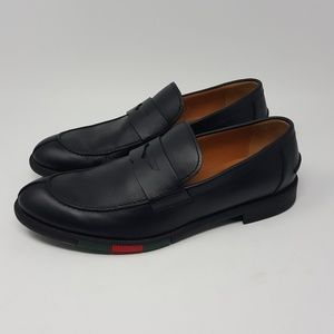 Gucci Black Leather Loafers 295117 COLOR Band 7.5G